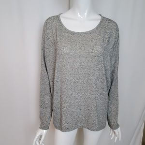 Ann Taylor Loft Grey Long Sleeve Sweater Hi Low